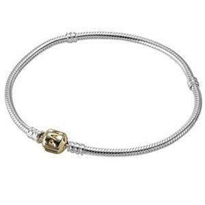 d2b4f160d Pandora. Silver Charm Bracelet With 14K Gold ...